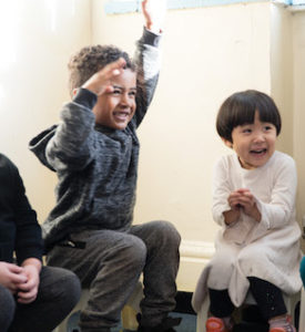 Children playing Musical Minis at nursery